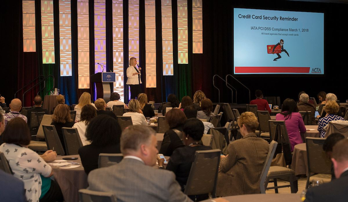 ACTA's Wendy Paradis speaking to attendees of Travel MarketPlace East in Toronto.