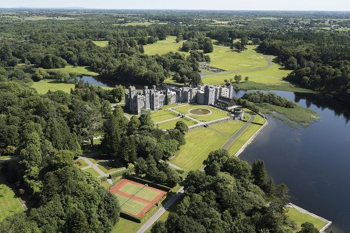 Ashford Castle birds-eye view.