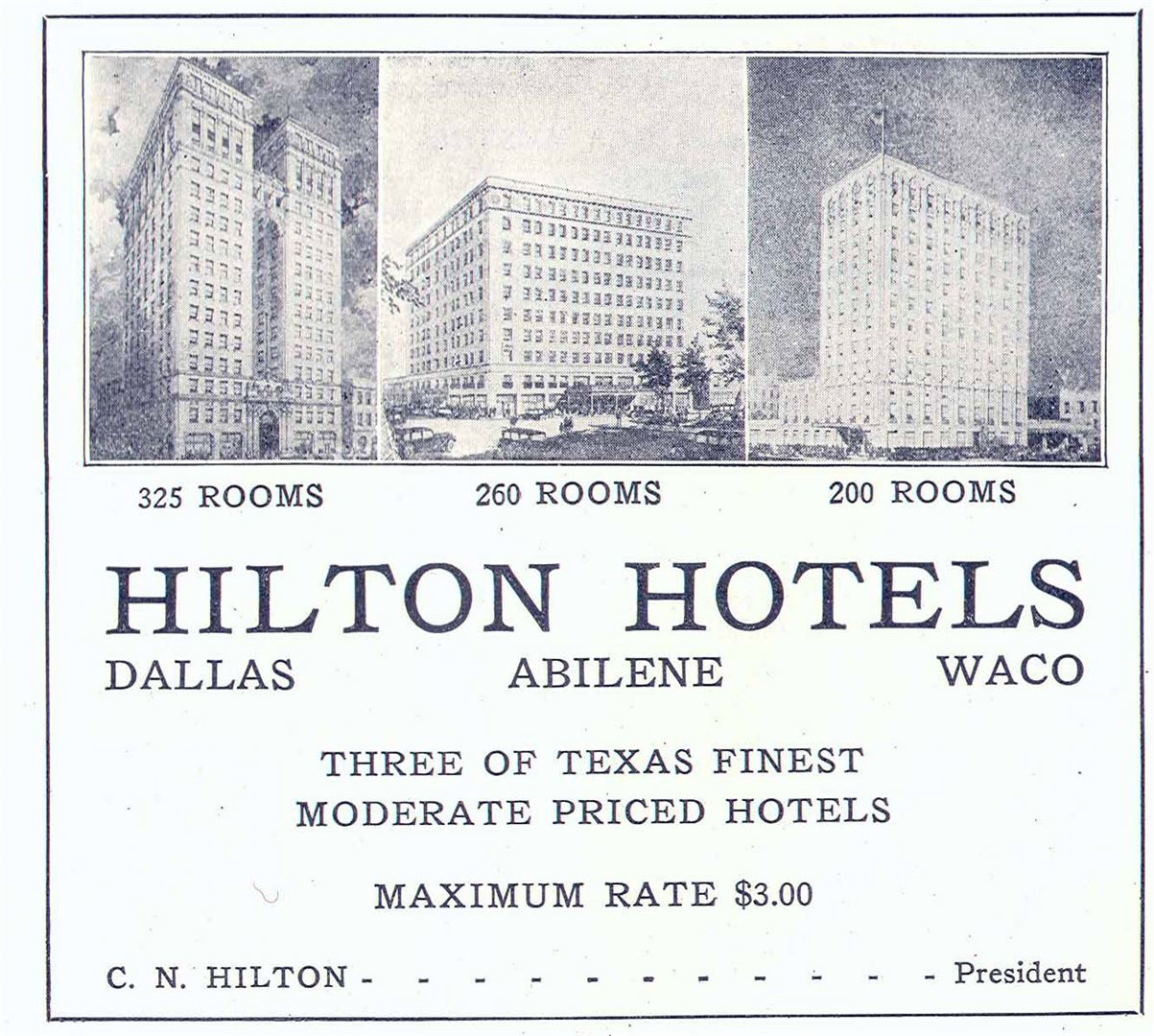 HIlton Celebrates 100 Years First Hotels in Texas