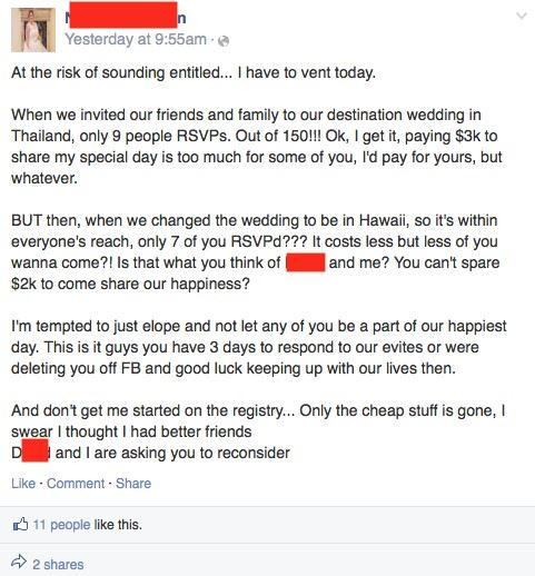 Bridezilla rants reddit