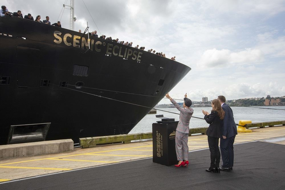 Dame Helen Mirren Christens New Scenic Eclipse in New York