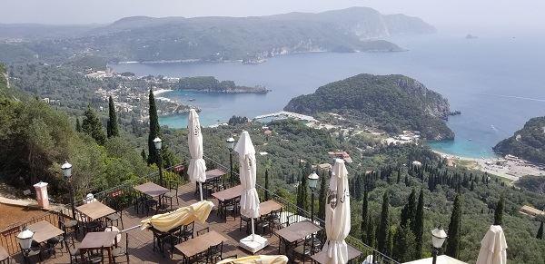 A cafe high above the remote Greek village of Paleokastritsa