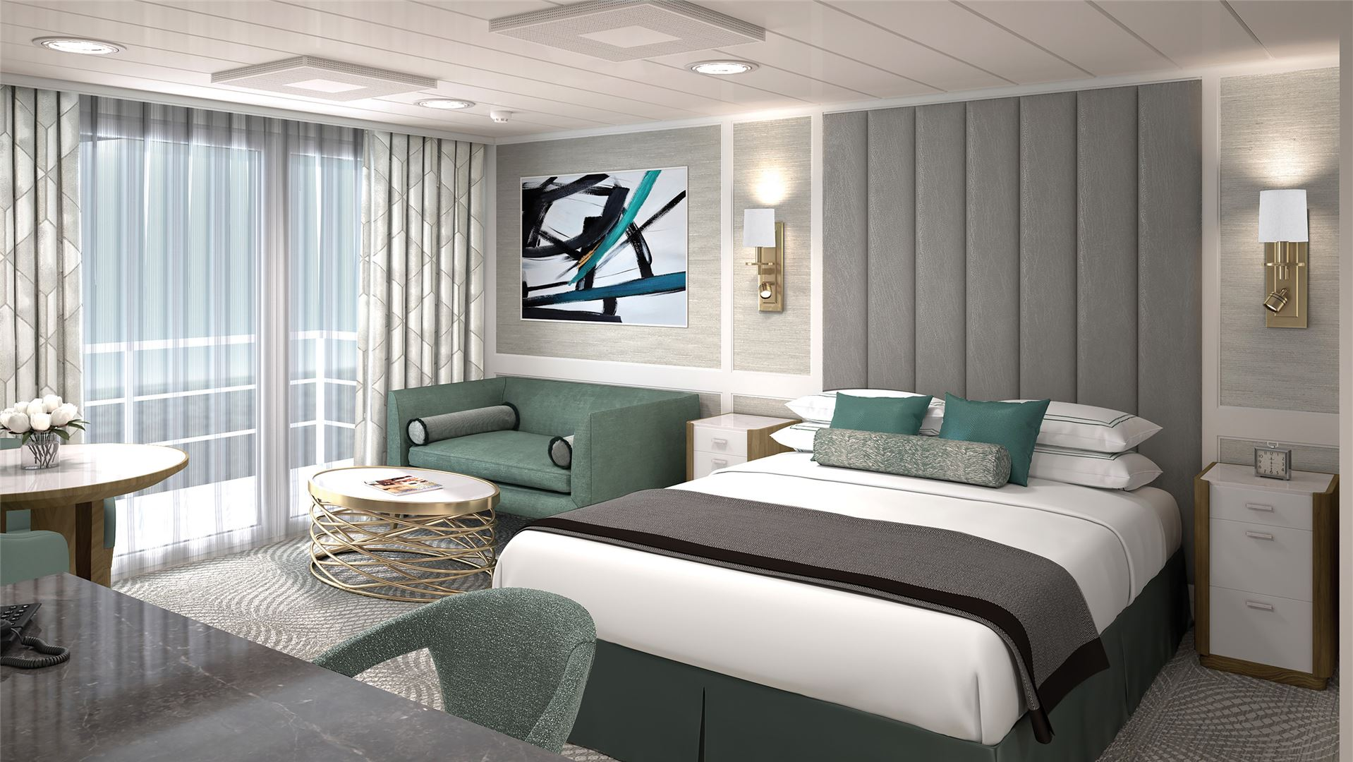 Penthouse Suite of the reimagined Regatta-Class ships            Concierge Veranda Stateroom of the reimagined Regatta-Class ships            Grand Hall View of the reimagined Regatta-Class ships