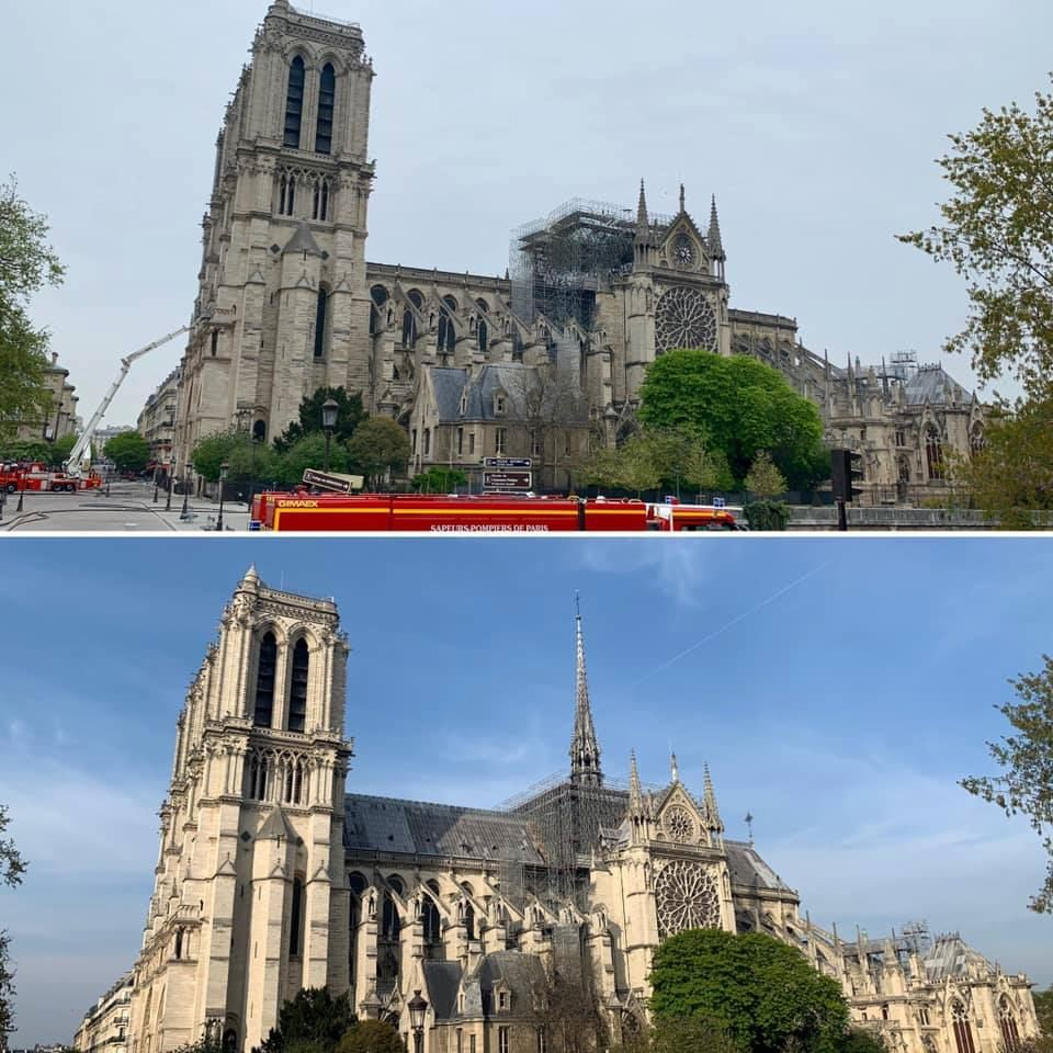 Notre Dame Cathedral before (below) and after (above) the fire.