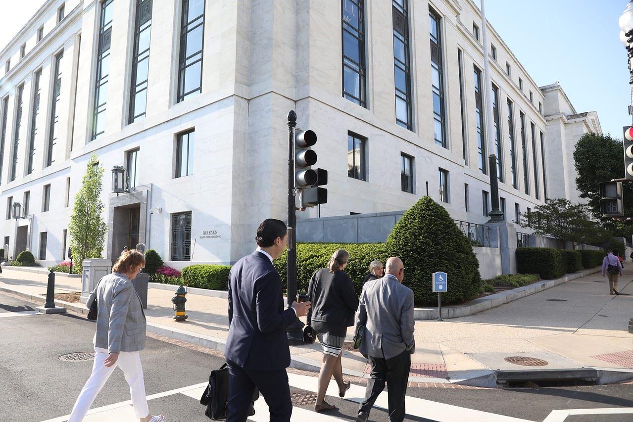 Agents outside Senate Building.