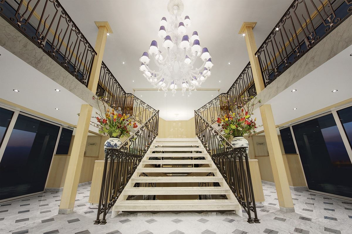 SS Beatrice grand staircase chandelier